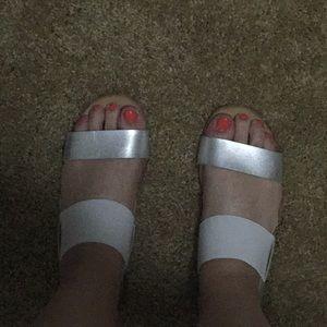 Silver & White Mossimo Sandals